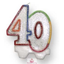 Candela Glitterata Per Torta 40 Anni Magic Party