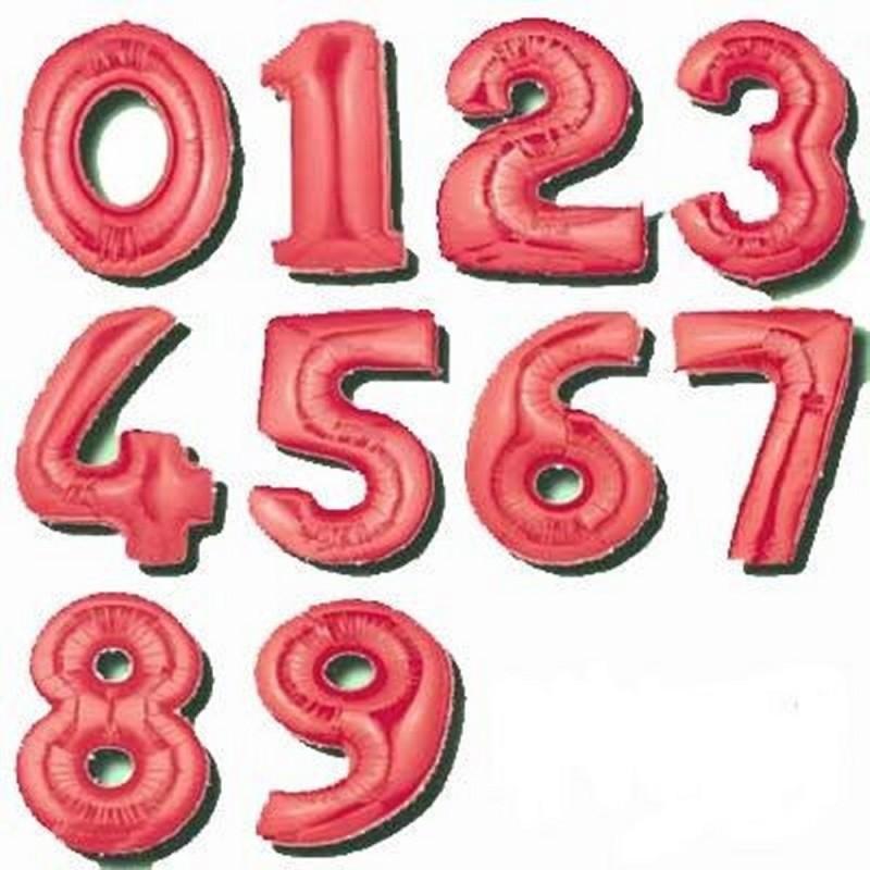 Pallone Mylar Numero Rosso 102 cm