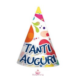 6 Cappellini In Carta Con Elastico Decoro Palloncini Big Party