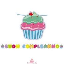 Kit Scritta Maxi Buon Compleanno Cupcake 6 Mt Big Party