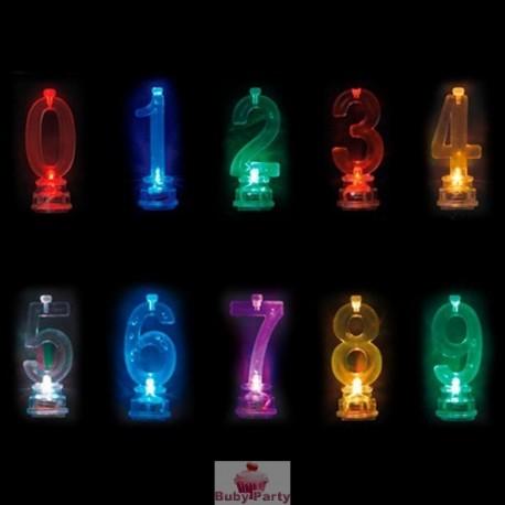 Set Candela Luminosa Led Multicolor Per Torta Di Compleanno Big Party