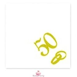 20 Tovagliolini Bianchi 50° Anniversario Con Fedi Oro Big Party