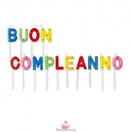 Candele Scritta Buon Compleanno A Pois Big Party