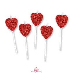 6 Candele A Cuore Glitter Per Torta Evento Big Party
