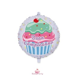 Palloncino Mylar Buon Compleanno Cupcake Ø 45 cm Big Party