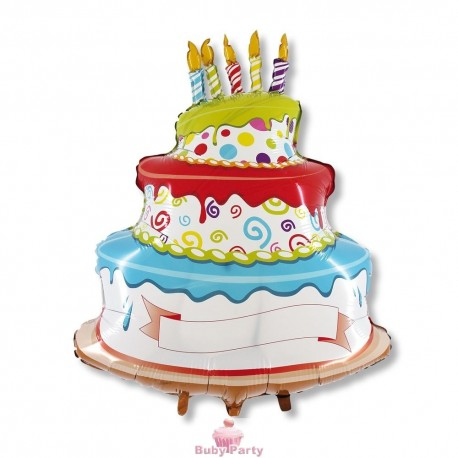 Maxi Pallone Mylar Torta Buon Compleanno Magic Party   Buby Party