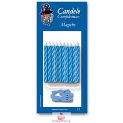 10 Candeline Magiche Per Torta Colore Celeste Magic Party