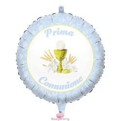 Palloncino Mylar Prima Comunione Celeste Ø 45 cm Big Party