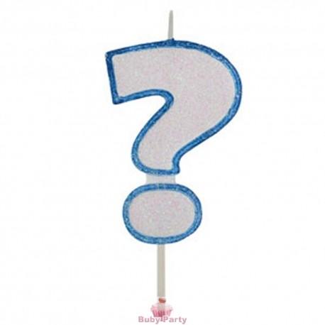 Candela Per Torta Forma Punto Interrogativo Glitterato Azzurro