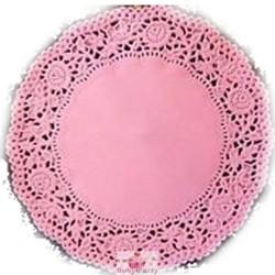 3 Centrini In Carta Pizzo Rosa Per Vassoi Ø 35 cm