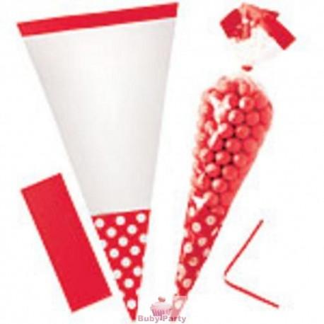 10 Sacchetti Cono Rosso Pois Porta Caramelle 25 cm Big Party