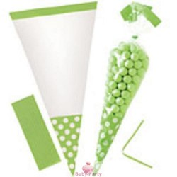10 Sacchetti Cono Verde Pois Porta Caramelle 25 cm Big Party