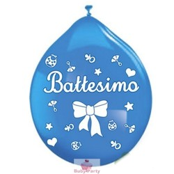 20 Palloncini In Lattice Battesimo Celeste Big Party