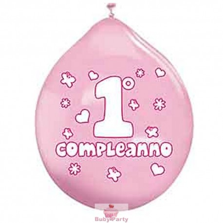 20 Palloncini In Lattice 1° Compleanno Rosa Big Party