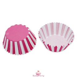48 Pirottini In Carta Forno Stripes Fuxia Big Party