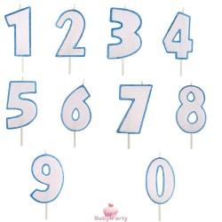 Candela Numero Glitter Azzurra Per Torta Di Compleanno Modecor