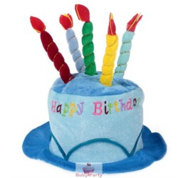Cappello Azzurro Forma Torta Happy Birthday Con Candele In Stoffa