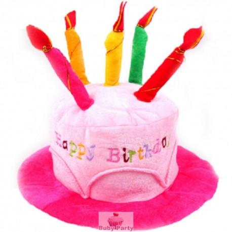 Cappello Rosa Forma Torta Happy Birthday Con Candele In Stoffa