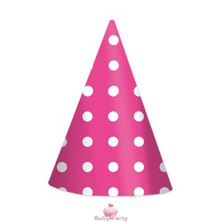 6 Cappellini Cono Fucsia Pois Big Party