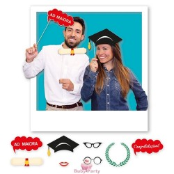 8 Photo Booth Laurea 20 cm Big Party
