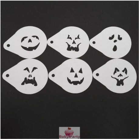Set 6 Stencil Cappuccino Halloween Party