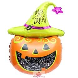 Pallone Mylar Testa Zucca Di Halloween Gonfiaggio Elio E Aria