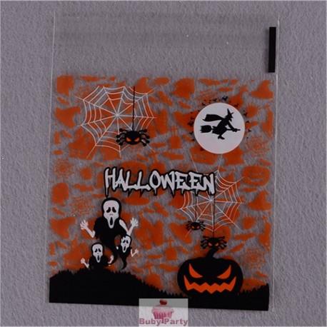 20 Bustine Scheletro Halloween Con Adesivo