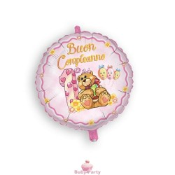 Palloncino Mylar Buon 1° Compleanno Rosa Ø 45 cm Magic Party