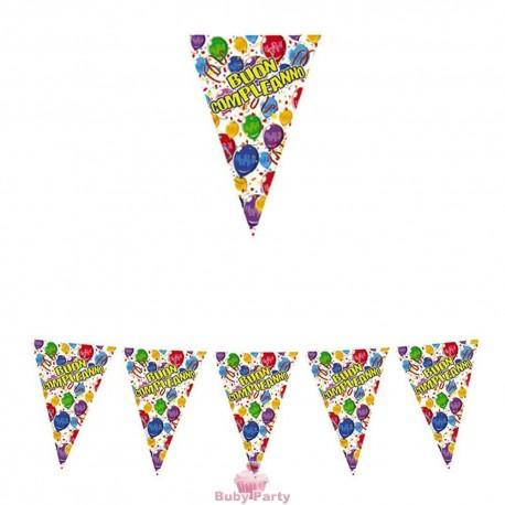 Festone Bandierine In Plastica 600x25 cm Buon Compleanno Happy Balloons