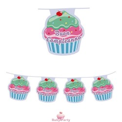 Festone Bandierine In Plastica 600x25 cm Cupcake Big Party