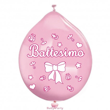 20 Palloncini In Lattice Battesimo Rosa Big Party