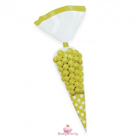 10 Sacchetti Cono Giallo Pois Porta Caramelle 25 cm Big Party