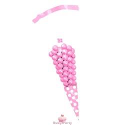 10 Sacchetti Cono Rosa Pois Porta Caramelle 25 cm Big Party