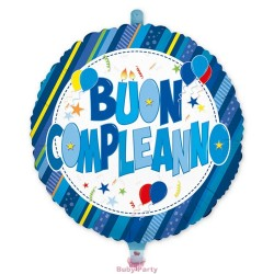 Palloncino Mylar Buon Compleanno Celeste Ø 45 cm Big Party