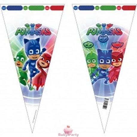 10 Sacchetti Cono Porta Caramelle Super Pigiamini 40 cm