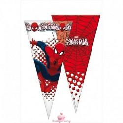 10 Sacchetti Cono Porta Caramelle Spiderman 40 cm