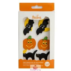 Set 6 Decorazioni In Zucchero Zucca E Pipistrello Halloween