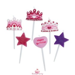 Set 6 Candeline Picks Principessa 6 cm Big Party