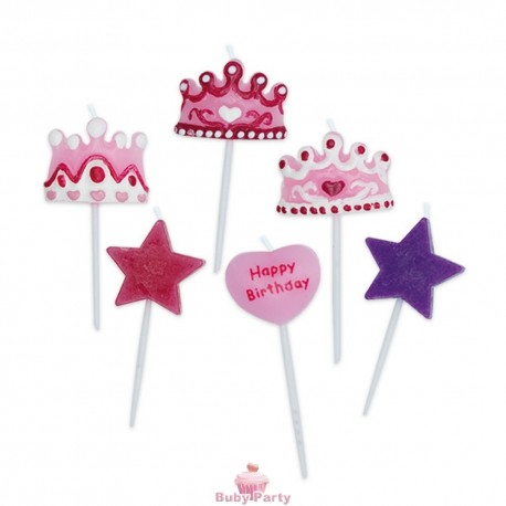 Set 6 Candeline Picks Principessa 6 cm