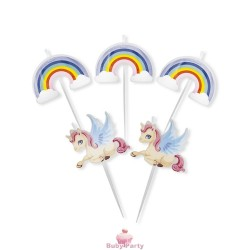 Set 5 Candeline Torta Picks Unicorni 8 Cm