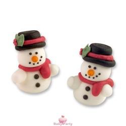 Set 2 Pupazzi Di Neve In Zucchero Decorazione Natalizia