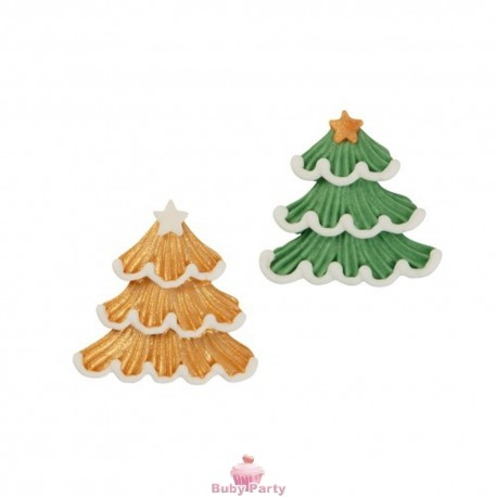 Set 2 Alberi Di Natale Piatti In Zucchero Oro E Verde
