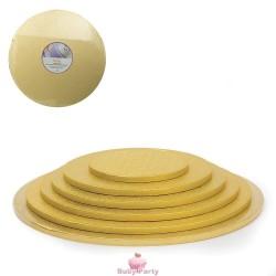Piatto Cake Board Tondo Oro Bordo Alto 1,2 cm
