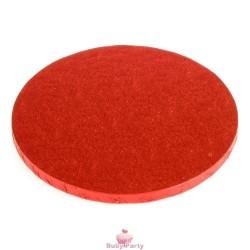 Piatto Cake Board Tondo Rosso Bordo Alto 1,2 cm