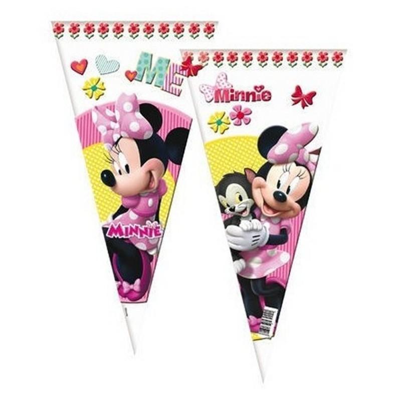10 Sacchetti Cono Porta Caramelle Minnie 40 cm