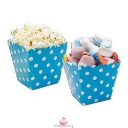 Set 6 Sweet Box Cesti Per Pop Corn E Caramelle In Cartoncino Turchese Pois