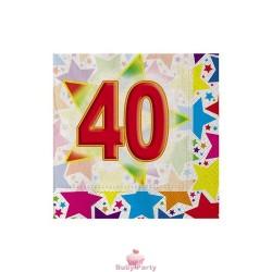 20 Tovaglioli 40° Compleanno Stardust 25x25 Cm Big Party