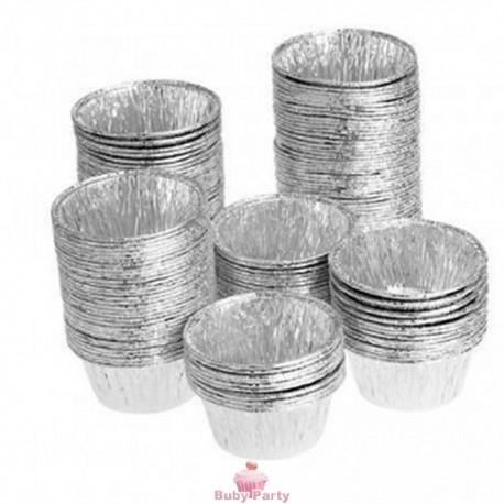 100 Vaschette In Alluminio Tonde Per Dolci