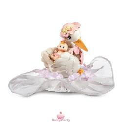 Topper Cake Nascita Cicogna E Bimba Rosa Ambra's