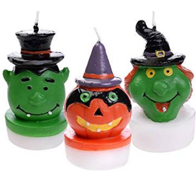 Set 3 Candele Mostri Halloween 3D